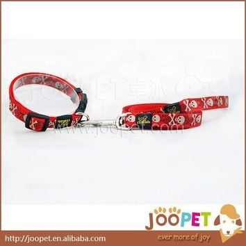 New Arrival Red Skull Puppy Dog Collar Nylon Pet Leash and Collar S/M/XL Free Shipping