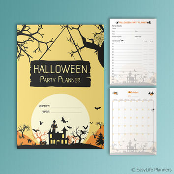Halloween Party Planner A5 Printable Filofax Inserts Halloween Menu Guests List Costume October Calendar + Invitations A4 A5 Letter 4x6 5x7