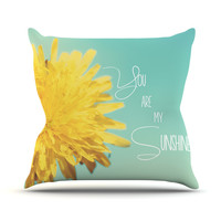 "Beth Engel ""You Are My Sunshine"" Teal Flower Throw Pillow"