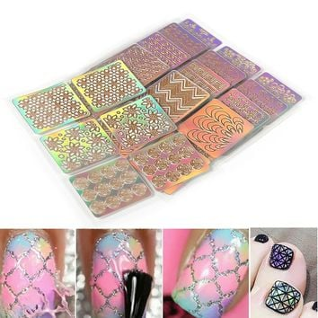 ELECOOL 6pcs Colourful Mixed 3D Design Nail Art Hollow Stickers Stencil Tip Template PVC Manicure Decals Decoration