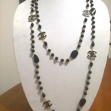 "Designer 70"" Hollywood Glam, Crystal and Black Pearl Chain Necklace"