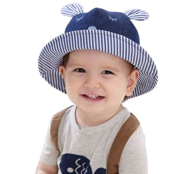 Toddler Bear Cowboy Infant Hats Summer Sun Cap Polka Striped Summer Outdoor Baby Girl Hats Beach Bucket Sun Hat