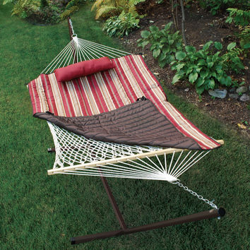 Adorable Cotton Rope Hammock, Stand, Pad and Pillow Combination by Algoma