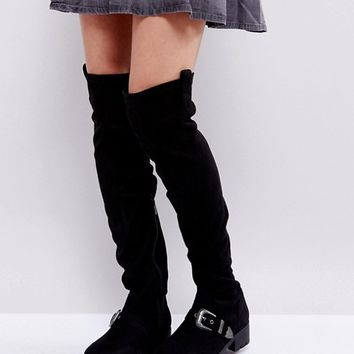 Truffle Collection Flat Chunky Over The Knee Boots at asos.com