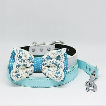 Blue Bow tie, Dog collar, Blue Light Leash, Handmade Gift, Pets wedding, Lace, Something Blue