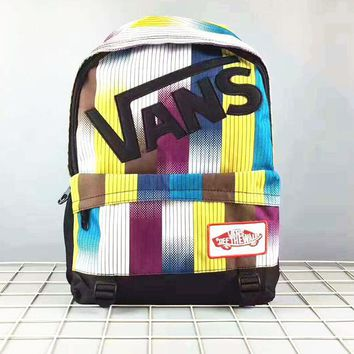 VANS Casual Sport Laptop Bag Shoulder School Bag Backpack Print Rainbow Color