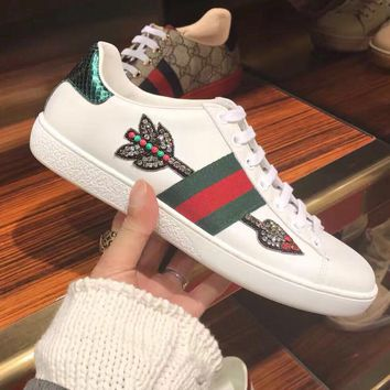 Gucci Ace embroidered low-top sneaker A variety of elemental styles Shoes Lips B