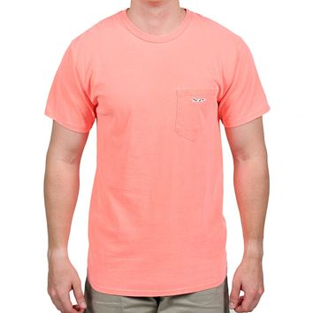 Longshanks Sewn Patch Short Sleeve Pocket Tee in Neon Orange by Country Club Prep