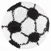 The Rug Market Shaggy Raggy Soccer Ball Black / White Kids Round Rug - 02253R - Cotton Rugs - Area Rugs by Material - Area Rugs
