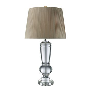 D1811 Castlebridge Table Lamp In Clear Crystal With Light Grey Shade - Free Shipping!