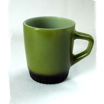 Fire King Coffee Mug Anchor Hocking Avocado Green D Handle Black Stacking Cup Vintage