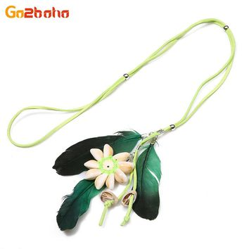 New Seashell flower long feather necklaces