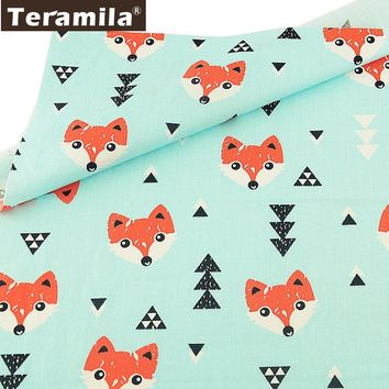 Teramila Light Green Tissu Material Scrapbooking Quilting DIY Twill 100% Cotton Sewing Fabric Telas Animals Style Tecido Bedding