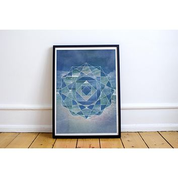 Reiki Charged Ocean Mandala Dark Blue Mandala Lotus Poster Bohemian Art Print Poster With Green and White  Design no frame 20x30 Large