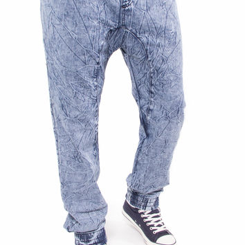 Acid Wash Denim Joggers (Blue)