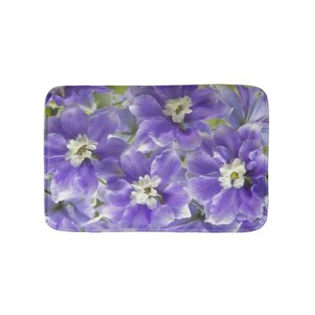 Purple Larkspur Floral Photo Bathroom Mat