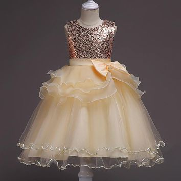Girl Lace Dress With flower For Age 3-12 years Baby Kids Princess Wedding Prom Party Ball Gown Sequined Sleeveless Dress