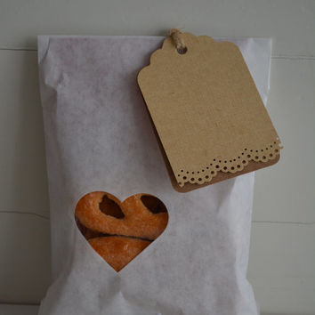 Off white paper bag with a small heart window set of 20 bags complete with cellophane bags --- Party favors, birthday party or wedding favor
