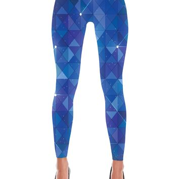 Blue Hexagon Galaxy Printed Leggings