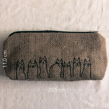 Free Shipping - Burlap Pencil Case With Cat Line Drawing Embroidery
