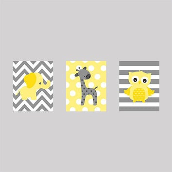 Gray and Yellow Giraffe Elephant and Owl, CUSTOMIZE YOUR COLORS, 8x10 Prints, set of 3, nursery decor nursery print art baby room decor