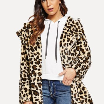 Leopard Teddy Hooded Coat