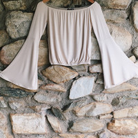 Taupe Off The Shoulder Bell Sleeve Crop Top