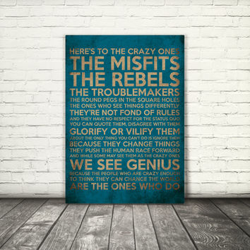 Steve Jobs quote, Here's to the crazy ones, 8x10, A3, digital download, typography, printable, home decor, poster, blue brown, motivational