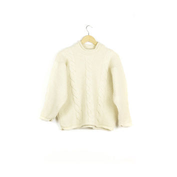 vintage irish wool cream cable knit fisherman sweater / natural ivory / winter / warm / made in ireland / classic aran jumper / size small
