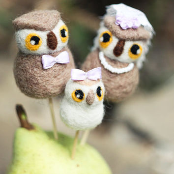 Felted Wedding Cake Topper - Owls Family Cake Topper