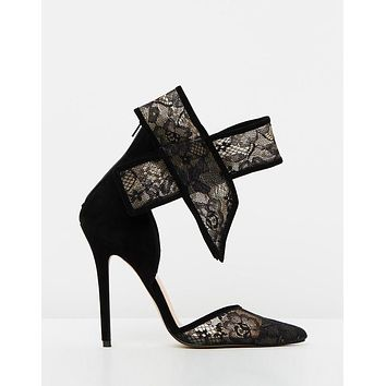 Shiralee Heels Black & Nude Lace