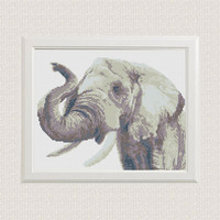 Cross Stitch Pattern Elephant Watercolor Animal Modern Printable PDF Pattern Counted Wilde Animal Colorful