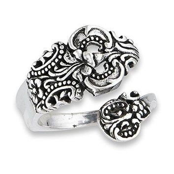 Open Adjustable Celtic Spoon Vintage Ring Sterling Silver Thumb Band Sizes 610