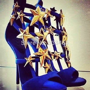 2016 cheap sale women wedge heels sandals with gold star