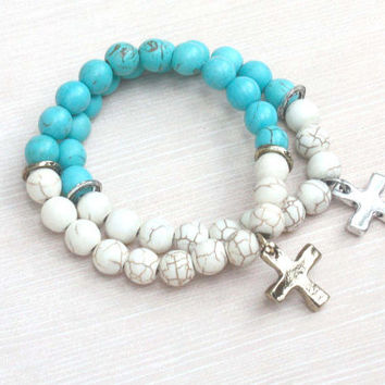 turquoise cross bracelet, simple cross bracelet, religious bracelet, turquoise beaded bracelet, cross bracelet, cross gift, cross jewelry