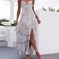 Sexy Boho Print Maxi Halter Dresses Women High Split Backless Beach Party Long Bohemian Dresses Sundress