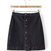 Black Washed Demin Mini Skirt