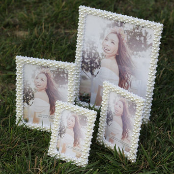 Luxury Creative Frame Europe Style handmade pearl photo frame Fashion Vintage Ornaments Rhinestone Frames Home Accessories