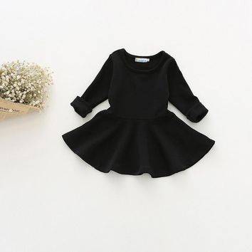 Sun Moon Kids Girl Dresses Solid Color Long Sleeve Pleated Baby Party Dress Casual Cotton 0-24 Months Kids Dress