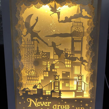 Silhouette Peter pan paper cut Light box Night light never grow up birthday gift idea shadow box kids baby nursery room art lightbox