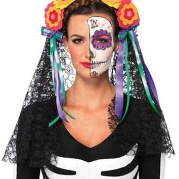 Day Of The Dead Flower Headband With Lace Veil In Multicolor