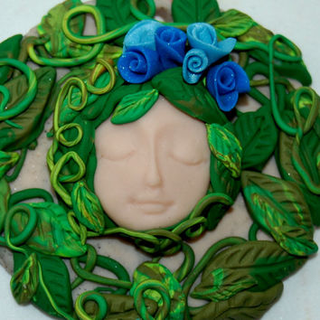 Green Woman Sculpture, Goddess,Mother Earth, Earth Mother, Pagan Gaia Art, Gaia Demeter Wall Deco