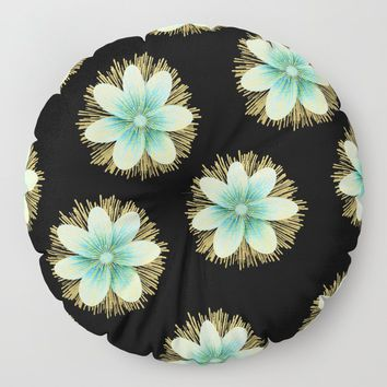 Blue & Gold Flowers On Black Floor Pillow by inspiredimages