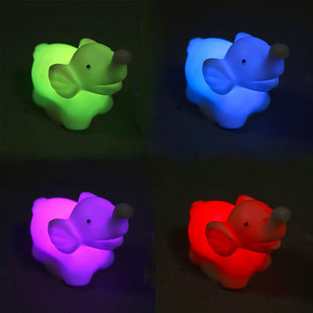 1 Pcs 7 Color Changing Elephant LED Night Light Lamp with Battery Party Decor