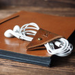 Leather Cord Holder - handmade, cord organizer, Earbud Cable Organizer, Earphone, Headphone, cable ties, cable tidy, cable organizer #Brown