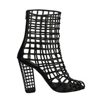 Yves Saint Laurent Black Patent Leather Cage Boot