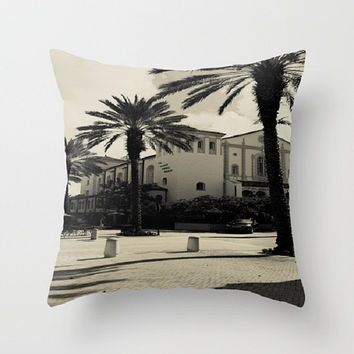 Black and White Indoor Throw Pillow Cover Spanish Architecture Pillow Black and White Vintage Pillow Cover West Palm Beach Pillow Palm Trees