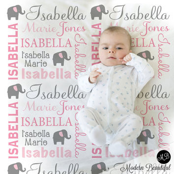 Elephant Name Blanket in pink and gray for Baby Girl, personalized baby gift, blanket, baby blanket, personalized blanket, choose colors