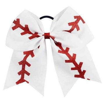 "7"" Glittery Softball Baseball Cheer Bow Large for Girls"