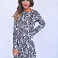 Black/Ivory Damask Shift Dress